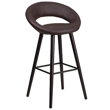 Flash Furniture – Tabouret de bar contemporain de 29 po, vinyle brun/cadre en bois cappuccino, Kelsey Series CH-152550-BRN-VY-GG