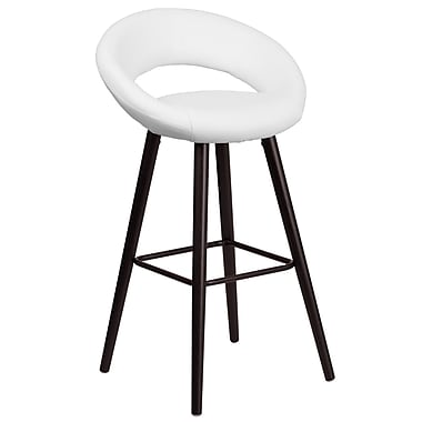 Flash Furniture Kelsey Series 29'' High Contemporary White Vinyl Barstool with Cappuccino Wood Frame (CH-152550-WH-VY-GG)