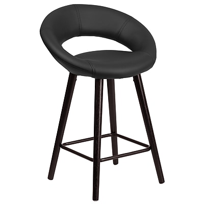 Flash Furniture Kelsey Series 24'' High Contemporary Black Vinyl Counter Height Stool with Wood Frame (CH-152551-BK-VY-GG)