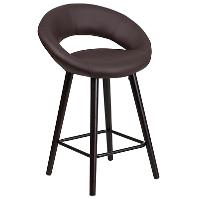 Flash Furniture Kelsey Series 24'' High Contemporary Brown Vinyl Counter Height Stool with Wood Frame (CH-152551-BRN-VY-GG)