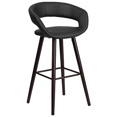 Flash Furniture Brynn Series 29'' High Contemporary Black Vinyl Barstool with Wood Frame (CH-152560-BK-VY-GG)