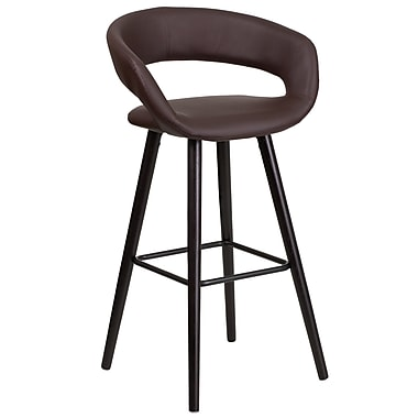 Flash Furniture Brynn Series 29'' High Contemporary Brown Vinyl Barstool with Wood Frame (CH-152560-BRN-VY-GG)