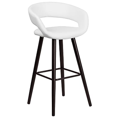 Flash Furniture Brynn Series 29'' High Contemporary White Vinyl Barstool with Wood Frame (CH-152560-WH-VY-GG)