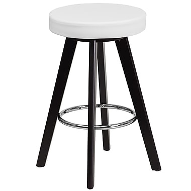Flash Furniture Trenton Series 24'' High Contemporary White Vinyl Counter Height Stool with Wood Frame (CH-152600-WH-VY-GG)