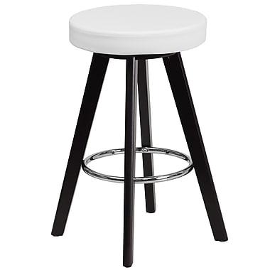 Flash Furniture – Tabouret de comptoir de 24 po contemporain, vinyle blanc et cadre en bois, Trenton Series (CH-152600-WH-VY-GG)