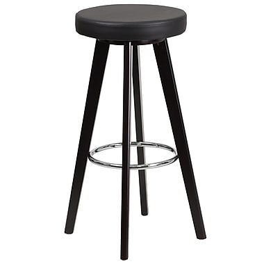Flash Furniture Trenton Series 29'' High Contemporary Vinyl Barstool with Cappuccino Wood Frame (CH-152601-BK-VY-GG)