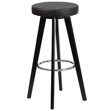 Flash Furniture – Tabouret de bar contemporain de 29 po, vinyle noir/cadre en bois cappuccino, Trenton Series CH-152601-BK-VY-GG