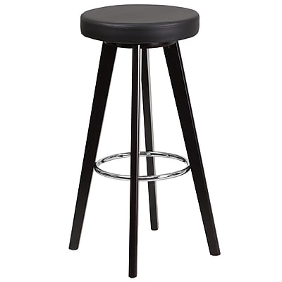 Flash Furniture Trenton Series 29'' High Contemporary Black Vinyl Barstool with Cappuccino Wood Frame (CH-152601-BK-VY-GG)