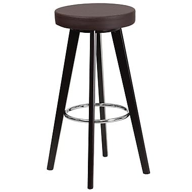 Flash Furniture Trenton Series 29'' High Contemporary Brown Vinyl Barstool with Cappuccino Wood Frame (CH-152601-BRN-VY-GG)