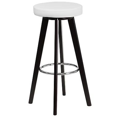 Flash Furniture Trenton Series 29'' High Contemporary White Vinyl Barstool with Cappuccino Wood Frame (CH-152601-WH-VY-GG)