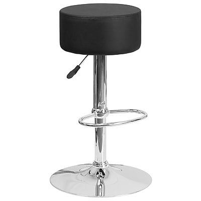 Flash Furniture Contemporary Black Vinyl Adjustable Height Barstool with Chrome Base (CH-82056-BK-GG)