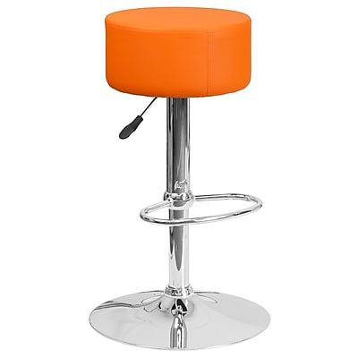 Flash Furniture Contemporary Orange Vinyl Adjustable Height Barstool with Chrome Base (CH-82056-ORG-GG)