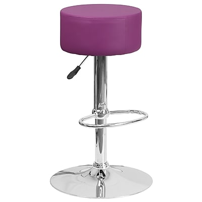 Flash Furniture Contemporary Purple Vinyl Adjustable Height Barstool with Chrome Base (CH-82056-PUR-GG)