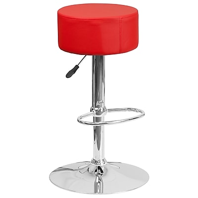 Flash Furniture Contemporary Red Vinyl Adjustable Height Barstool with Chrome Base (CH-82056-RED-GG)