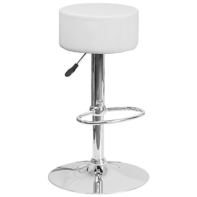 Flash Furniture Contemporary White Vinyl Adjustable Height Barstool with Chrome Base (CH-82056-WH-GG)