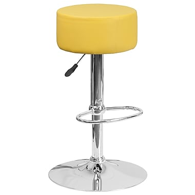 Flash Furniture Contemporary Yellow Vinyl Adjustable Height Barstool with Chrome Base (CH-82056-YEL-GG)