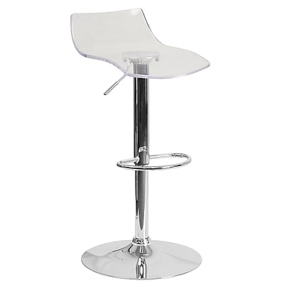 Flash Furniture Contemporary Transparent Acrylic Adjustable Height Barstool with Chrome Base (CH-88005-CLR-GG)
