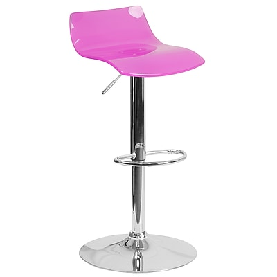 Flash Furniture Contemporary Transparent Hot Pink Acrylic Adjustable Height Barstool with Chrome Base (CH-88005-HT-PK-GG)