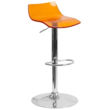 Flash Furniture – Tabouret de bar contemporain en acrylique orange transparent, pied chromé, hauteur réglable (CH-88005-OR-GG)