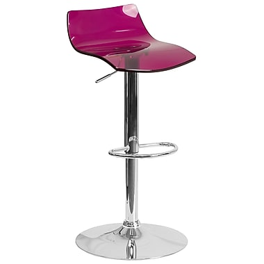 Flash Furniture Contemporary Transparent Purple Acrylic Adjustable Height Barstool with Chrome Base (CH-88005-PUR-GG)