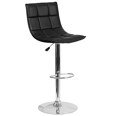 Flash Furniture Contemporary Black Quilted Vinyl Adjustable Height Barstool with Chrome Base (CH-92026-1-BK-GG)