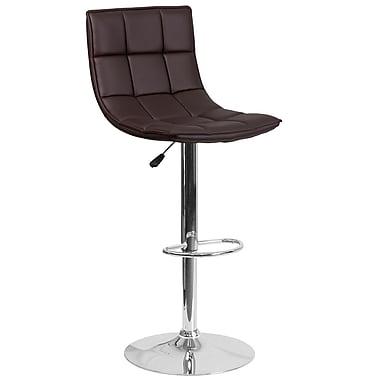 Flash Furniture – Tabouret de bar contemporain ajustable en vinyle matelassé brun et à pied chromé (CH-92026-1-BRN-GG)