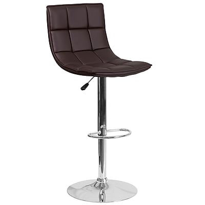 Flash Furniture Contemporary Brown Quilted Vinyl Adjustable Height Barstool with Chrome Base (CH-92026-1-BRN-GG)