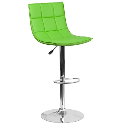 Flash Furniture Contemporary Green Quilted Vinyl Adjustable Height Barstool with Chrome Base (CH-92026-1-GRN-GG)