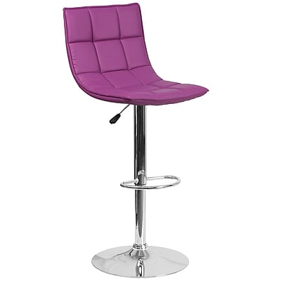 Flash Furniture Contemporary Purple Quilted Vinyl Adjustable Height Barstool with Chrome Base (CH-92026-1-PUR-GG)