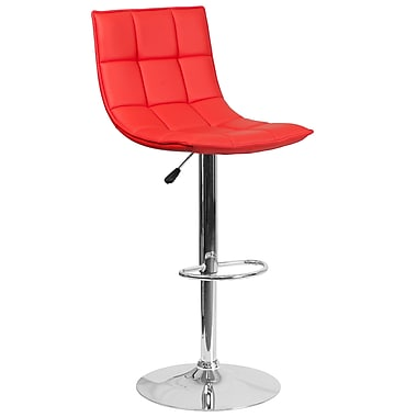 Flash Furniture – Tabouret de bar contemporain ajustable en vinyle matelassé rouge et à pied chromé (CH-92026-1-RED-GG)