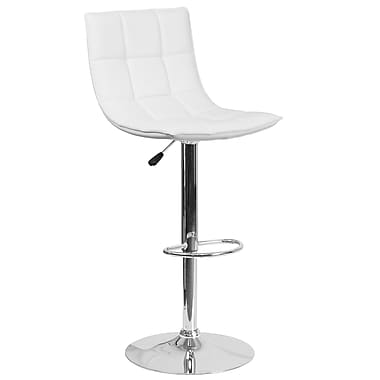 Flash Furniture Contemporary White Quilted Vinyl Adjustable Height Barstool with Chrome Base (CH-92026-1-WH-GG)