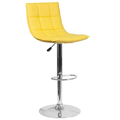 Flash Furniture Contemporary Yellow Quilted Vinyl Adjustable Height Barstool with Chrome Base (CH-92026-1-YEL-GG)