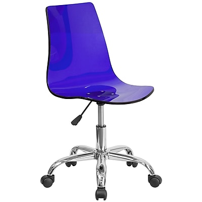 Flash Furniture Contemporary Transparent Plastic Computer and Desk Office Chair, Armless, Blue (CH98018BL)