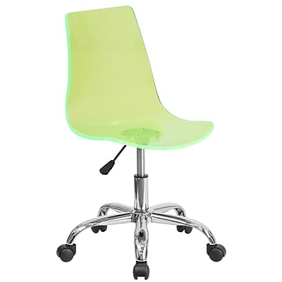 Flash Furniture Contemporary Plastic Computer and Desk Office Chair, Armless, Green (CH98018GN)