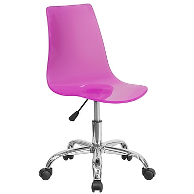 Flash Furniture Contemporary Transparent Hot Pink Acrylic Task Chair with Chrome Base (CH-98018-HT-PK-GG)