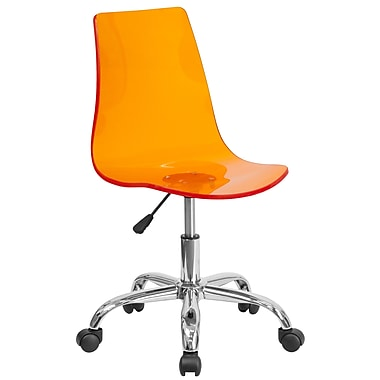 Flash Furniture Contemporary Transparent Orange Acrylic Task Chair with Chrome Base (CH-98018-OR-GG)