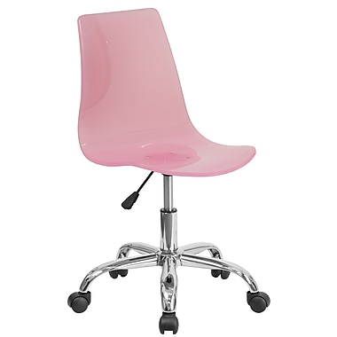 Flash Furniture Contemporary Transparent Pink Acrylic Task Chair with Chrome Base (CH-98018-PK-GG)