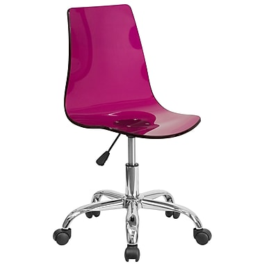 Flash Furniture Contemporary Transparent Purple Acrylic Task Chair with Chrome Base (CH-98018-PUR-GG)