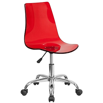 Flash Furniture Plastic Computer and Desk Office Chair, Armless, Red (CH98018RED)