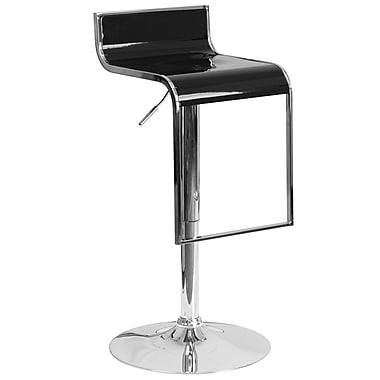 Flash Furniture – Tabouret de bar contemporain ajustable en plastique et à pied chromé en chute, noir (CH-TC3-1027P-BK-GG)