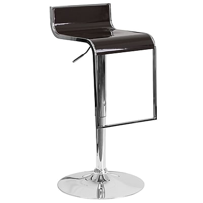 Flash Furniture Contemporary Brown Plastic Adjustable Height Barstool with Chrome Drop Frame (CH-TC3-1027P-BRN-GG)