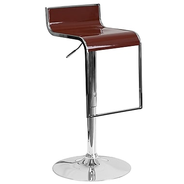 Flash Furniture – Tabouret de bar contemporain ajustable en plastique, pied chromé en chute, bourgogne (CH-TC3-1027P-BURG-GG)