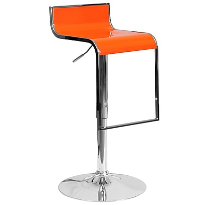 Flash Furniture Contemporary Orange Plastic Adjustable Height Barstool with Chrome Drop Frame (CH-TC3-1027P-ORG-GG)