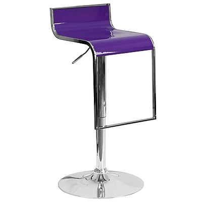 Flash Furniture Contemporary Purple Plastic Adjustable Height Barstool with Chrome Drop Frame (CH-TC3-1027P-PUR-GG)