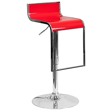 Flash Furniture Contemporary Red Plastic Adjustable Height Barstool with Chrome Drop Frame (CH-TC3-1027P-RED-GG)