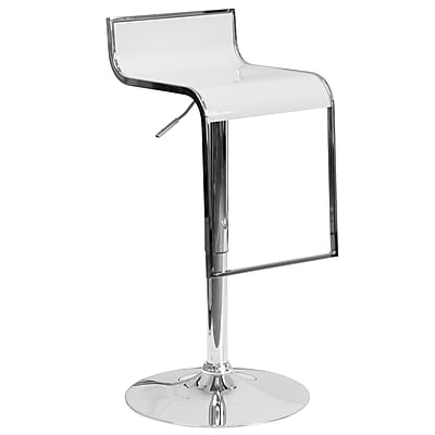 Flash Furniture Contemporary White Plastic Adjustable Height Barstool with Chrome Drop Frame (CH-TC3-1027P-WH-GG)