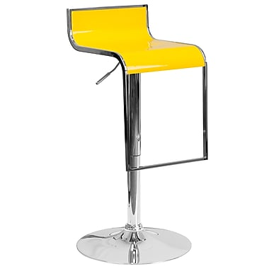 Flash Furniture – Tabouret de bar contemporain ajustable en vinyle jaune à cadre en chute chromé (CH-TC3-1027P-YEL-GG)