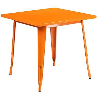 Flash Furniture 31.5'' Square Orange Metal Indoor-Outdoor Table (ET-CT002-1-OR-GG)