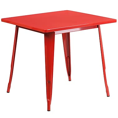 Flash Furniture 31.5'' Square Red Metal Indoor-Outdoor Table (ET-CT002-1-RED-GG)