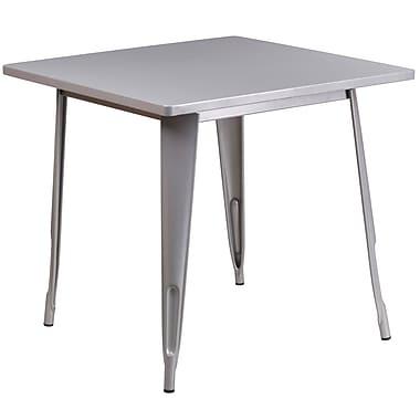 Flash Furniture – Table carrée en métal de 31,5 po pour intérieur/extérieur, argenté (ET-CT002-1-SIL-GG)